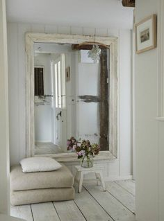 love to have a giant mirror shabby cottage chic white room decor