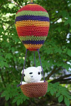 "Hot-Air Balloon w/ Teddy :) Pattern in ""Amigurumi Two"" by Ana Paula Rimoli."