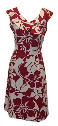 Hawaiian Hoku Red Island Dress, Jade Fashion - Aloha Wear Clothing Store