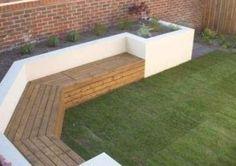 Small Garden Ideas Seating Area, Built In Garden Seating, Narrow Backyard Ideas, Backyard Seating, Backyard Garden Design, Outdoor Seating Areas, Small Backyard Landscaping, Small Garden Landscape, Narrow Garden