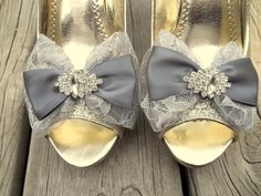 Wedding  Lace Shoe Clips Bridal Lace and Satin by ShoeClipsOnly