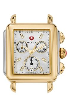 MICHELE Deco Diamond Dial Two-Tone Watch Case, 33mm x 35mm | Nordstrom