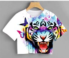 Outfits For Teens, Church Outfits, Casual Outfits, T Shirt Photo Printing, Lion Wallpaper, Kids Class, Fabric Painting, Ideias Fashion, Shirt Designs
