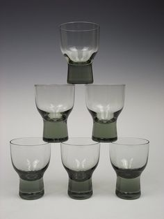 Holmegaard 'Canada' cocktail glasses by Per Lutken, Denmark Modern Glass, Mid-century Modern, Art Of Glass, Vintage Glassware, Mid Century Design, Danish Design, Glass Design, Glass Ornaments, Art And Architecture