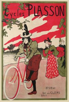 CYCLES PLASSON FEMMES - AFFICHE ANCIENNE (1896) -_-   Ukiyo-e  technique : the colors are uniform, the elements are clearly-cut, even black-delimited, the sky is typical of japanese woodcut exemples, and the cycle on the foreground creates it's own perspective, that is everything but classsical
