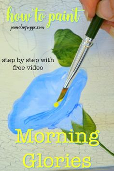 How to Paint Morning Glories in acrylics one easy stroke at a time. Beginner friendly painting tutorial with free video. Step by step photo lesson. Beautiful flowers to paint, paint them on DIY signs, easy canvas painting or whatever you desire. Canvas Painting Tutorials, Easy Canvas Painting, Acrylic Painting Techniques, Painting Videos, Fabric Painting, Tole Painting, Painting Classes, Paint Techniques, Painting Tips
