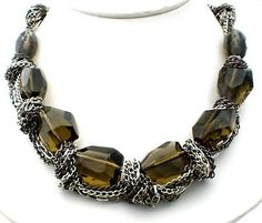 Olive Green Quartz Bead Necklace Wrapped With Chains Runway
