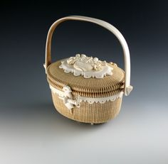 Nantucket Lightship Basket with Ivory skirt