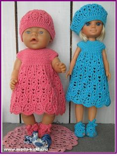 Вяжем крючком платье на беби-борн и Нэнси с круглой кокеткой