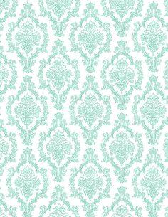 Blue Raspberry Damask Pattern