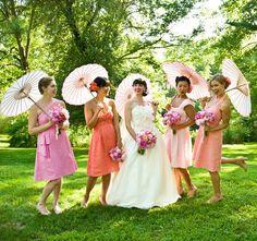 Bridesmaids with parasols, Ombre bridesmaids, Mismatched bridesmaids with parasols