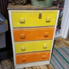 "Kids colorful dresser. 24"" w x 14"" deep x 36"" tall.  $99.99 #cherisheverymoment #homedecor #upcycled #kidsfurniture"