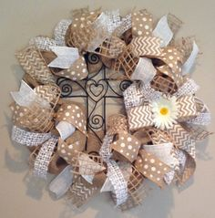 White Chevron, Polka Dot, and Natural Burlap Wreath with Cross - Faith, Jesus, Spring, Easter www.etsy.com/shop/SimplyBlessedGift