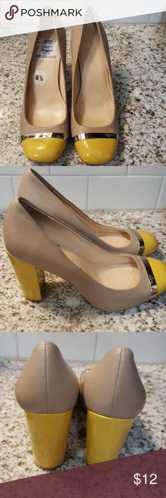 "Calvin Klein Shoes Beautiful!❤ 6 1/2 Calvin Klein Shoes Beautiful!❤ 6 1/2 Pale Grey & Yellow 3"" heel Offers Welcome Calvin Klein Shoes Heels"
