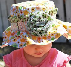 Sally Sun Hat featuring Sweet Baby Girl fabric designed by Doodlebug Design Inc for Riley Blake Designs
