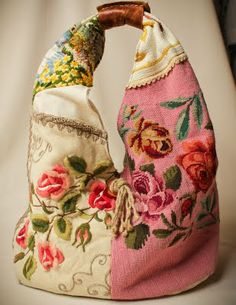 Love vintage textiles that have been repurposed...my sister Carolyn can  look at this and make it!!!!!