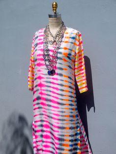 Maxi Tunic Beach Dress In Shibori Tie Dye on IMPERIO jp