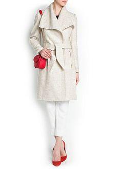 MANGO - CLOTHING - Coats - Maxi flap flecked coat