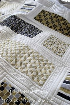Helen's Quilt ~ frame borders around solid blocks for simple but elegant quilt…