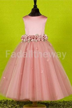 Satin Scoop Tulle Ankle-Length A-Line Sleeveless Holiday Birthday Dress 001