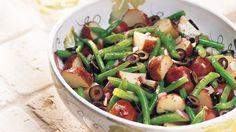 Make potato salad, Italian style with vinaigrette, green beans and olives.