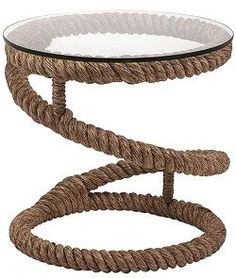 Bosun's Rope Glass Top Round Accent Table