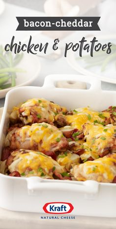Bacon-Cheddar Chicken and Potatoes – Find a dish the whole family will enjoy when you combine chicken, bacon, ranch dressing, red potatoes, and cheddar cheese. Top this recipe with parsley for the perfect finishing touch. Crock Pot Recipes, Casserole Recipes, New Recipes, Chicken Recipes, Dinner Recipes, Cooking Recipes, Favorite Recipes, Healthy Recipes, Kraft Recipes