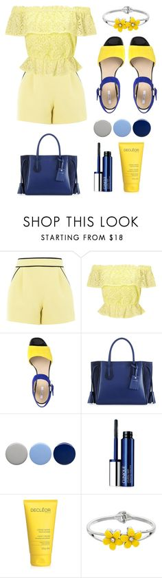 """""""Blue And Yellow"""" by dancergirl29 ❤ liked on Polyvore featuring Boutique Moschino, Miss Selfridge, Geox, Longchamp, Burberry and Clinique"""