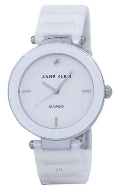 Features: Metal Case White Ceramic Bracelet Quartz Movement Mineral Crystal White Dial Analog Display Diamond At 12 O'clock Position Pull/Push Crown Jewelry Clasp Water Resistance Approximate Case Diameter: Approximate Case Thickness: Anne Klein Watch, Jewelry Clasps, White Ceramics, Michael Kors Watch, Quartz, Jewels, Crystals, Diamond, Metal