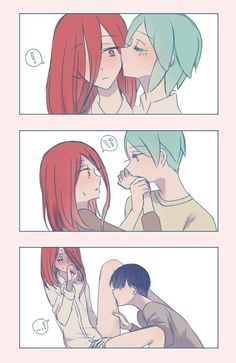 Cinnabar and phos Yuri Anime, Otaku Anime, Manga Anime, Cute Couple Comics, Cute Comics, Anime Couples Drawings, Anime Couples Manga, Cute Anime Coupes, Anime Kiss