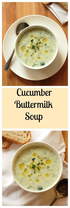 Cucumber Buttermilk Soup can easily be made #dairyfree and #vegan