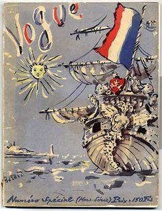 Vogue Paris, by Christian Berard, 1945 Robert Doisneau, Vogue Paris, Illustration Française, Graphic Design Illustration, Lee Miller, Vintage Magazine, Magazine Art, Anna Wintour, Vintage Prints