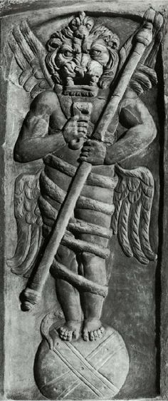 This lion-headed figure from the Mithraic mysteries has a dubious identity. He is usually called Aion (god of eternity) on Globe. He could also be called Zurvan, the Persian god of time. Some claim it represents Ahriman, the Zoroastrian evil one. Relief from the Villa Albani, period of Commodus (AD 180-93). Rome, Museo Torlonia.