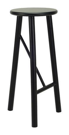 """Elka"" Minimalist Thin Round Oak Cafe Bar Stool in Black AU$189 – https://www.simplybarstools.com.au/products/elka-minimalist-thin-round-oak-cafe-bar-stool-in-black - Simply Bar Stools - backless, fixed leg, ebony, bar stools. #Australia #Furniture"