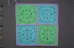 "Day 5: 6"" Block of the Day - Small Winter Burst by Aurora Suominen  Free Pattern: http://myblueangels.blogspot.com/2010/10/small-winter-burst-6-square.html  June 2013 #TheCrochetLounge #6""Square Pick"