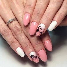 Whether it's the dead of Winter or halfway through a sweltering Summer, we pretty much have one constant goal: we hope to wind up on a warm yet breezy beach Acrylic Nail Art, Acrylic Nail Designs, Nail Art Designs, Soft Nails, Neutral Nails, Classy Nails, Stylish Nails, Flamingo Nails, Pink Flamingos
