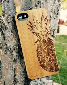 Genuine Wood Cell phone Case with Pineapple by ShakenDoodleDesigns