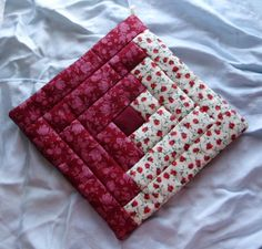 free quilted potholder patterns | Original Amish Pennsylvania Dutch Red Floral Potholder | eBay