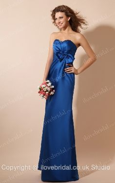 Vogue A-line Royal Blue Evening Dress With Sweetheart Neckline And Lovely Bowknot