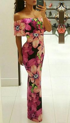 24efebc5d1 Floral Print Strapless Ruffle Maxi Dress 40th Birthday