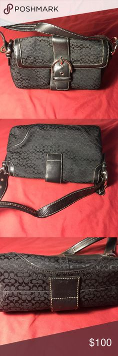 Black Coach purse very nice Been in storage for a while. Used but very nice. Small petite purse. Silver hardware Coach Bags Shoulder Bags