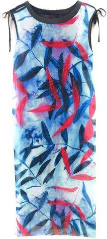 Silk Leaf Print Dress