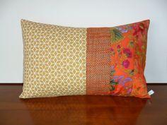 Housse de coussin pimentée, rectangulaire, ocre et orange : Textiles et tapis par michka-feemainpassionnement