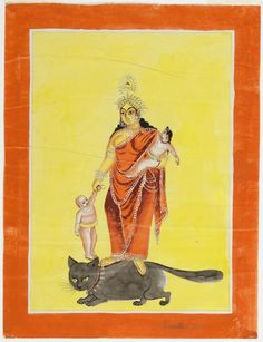 A souvenir painting of the goddess Shashthi on a cat made c.1880 in Calcutta/Kolkata, India; the goddess of birth and small children is identified by her symbolic attributes, babies, yellow skin and the cat that is her vehicle and complement. (Philadelphia Museum of Art)