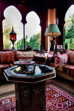 Matching the scale of furniture to the scale of a room is important. A deep sectional sofa can quickly subdue a small room and svelte chairs can get lost in a wide-open loft. Moroccan Theme, Moroccan Design, Moroccan Style, Modern Moroccan, Bohemian House, Bohemian Decor, Bohemian Living, Boho Chic, Middle Eastern Decor