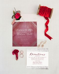 Cranberry Foil Pressed Wedding Invitation by Pistols for Minted - Deep Red Fall Wedding Inspiration - Purchase now and save 15% off your order before 10/12.