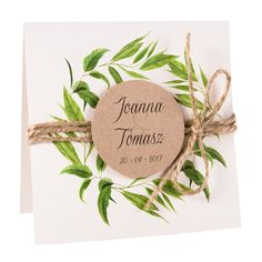 Zaproszenia ślubne z liśćmi Eukaliptusa. Zaproszenia z personalizacją, wstążką lub sznurkiem na fakturowanym papierze w pięknej kopercie.