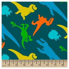 Disney The Good Dinosaur & Spot, Teal (Blue), Flannel, 42/43 Width, Fabric by the Yard