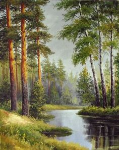 "The First Leaves"" - oil, canvas, Artist: Yanulevich Gennady Painting Photos, Art Painting, Landscape Paintings, Watercolor Paintings, Beautiful Paintings, Watercolor Landscape, Beautiful Landscapes, Landscape Art, Pictures To Paint"