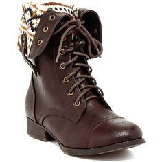 Elegant Footwear Sharpery Combat Boot ($37) ❤ liked on Polyvore featuring shoes, boots, footwear, zapatos, brown, mid-calf boots, brown military boots, brown mid calf boots, military boots and lace up boots